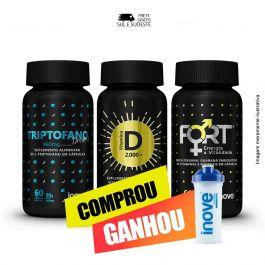 Combo sono bom, Imunidade e vitalidade Triptofano Dreams + Vitamina D + Fort + Brinde Coqueteleira Inove Nutrition