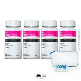 Combo TestoFemme500® Inove Nutrition 04 Potes c/ 60 cápsulas cada + Brinde 02 Moove Energy + 02 Moove Hydrate + 01 Necessaire + 01 Porta Cápsulas