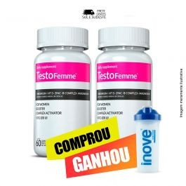 Combo Testofemme Inove Nutrition 02 potes  c/ 60 cápsulas cada + Coqueteleira 600 ML Inove Nutrition