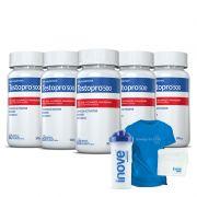 Combo Testopro500® 05 Potes  c/ 60 cápsulas cada + Brinde Coqueteleira + Toalha de Rosto + Camiseta Azul