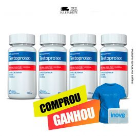 Combo Testopro500® Inove Nutrition 04 Potes c/ 60 cápsulas cada + Brinde Moove Energy + Moove Hydrate 01 Camiseta + Porta Cápsulas Inove Nutrition