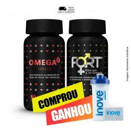 Combo vitalidade e coração,  Ômega 3 + Fort® + Brinde Coqueteleira + Porta cápsulas Inove Nutrition