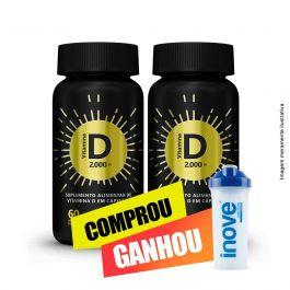 Combo Vitamina D 2.000 ui Inove Nutrition  02 potes  C/ 60 cápsulas softgel + Brinde Coqueteleira Inove Nutrition 600 ML