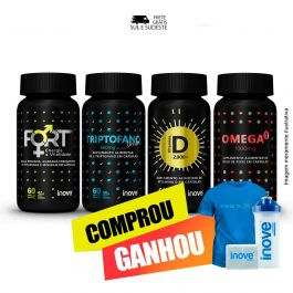 Combo Viver Mais  Ômega 3 + Triptofano Dreams + Fort + Vitamina D + Brinde Camiseta + Coqueteleira + Porta cápsulas Inove Nutrition