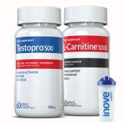 Combo 01 L-Carnitina + 01 Testopro®500 Inove Nutrition c/ 60 cápsulas cada +  Brinde Coqueteleira 700 ml