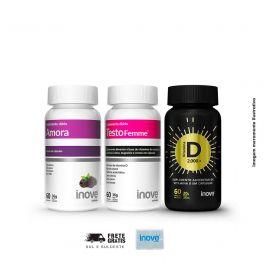 Kit 01 Amora Miura + 01 Testofemme + 01 Vitamina D Inove Nutrition + Brinde porta cápsulas