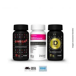 Kit 01 omega 3 + Vitamina D + Testofemme Inove Nutrition + Brinde Porta cápsulas