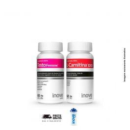 Kit 01 Testofemme + 01 L-Carnitina Inove Nutrition + Brinde Coqueteleira Inove Nutrition 600 ml