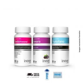Kit 01 Triptofano  + 01 Amora Miura + 01 Testofemme Inove Nutrition + Brinde Coqueteleira 600 ML + Porta Cápsulas Inove Nutrition