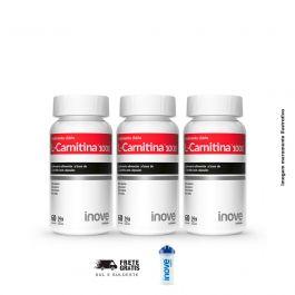 Kit L-Carnitina 03 Potes Inove Nutrition c/ 60 cápsulas cada + Brinde Coquteleira 600 ML