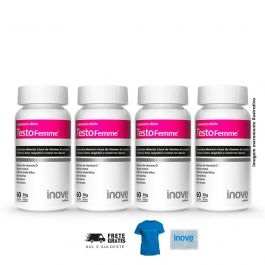 Kit TestoFemme Inove Nutrition 04 Potes c/ 60 cápsulas cada + Brinde 01 Camiseta + 01 Porta Cápsulas