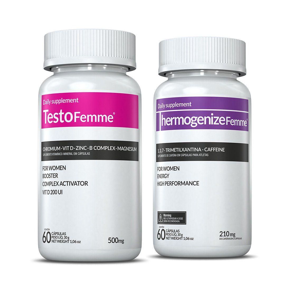 Combo 01 Testofemme® + 01 Thermogenize®Femme c/ 60 cápsulas cada + (GRÁTIS) Moove Slim + Moove Fiber + 10% Off (Energia e Definição)