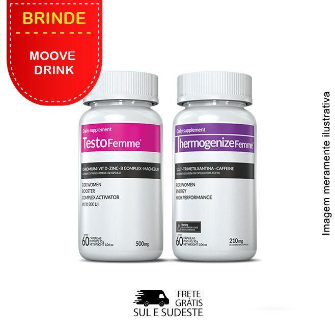Combo 01 Testofemme® + 01 Thermogenize®Femme Inove Nutrition c/ 60 cápsulas cada + Brinde Moove Slim + Moove Fiber.  - INOVE NUTRITION