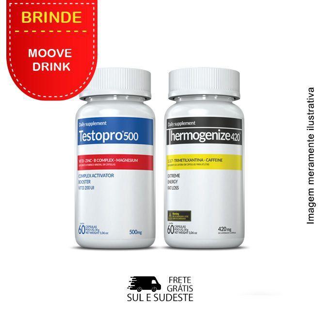 Combo 01 Testopro500® + 01 Thermogenize®420 Inove Nutrition c/ 60 cápsulas cada + Brinde  Moove Slim + Moove Hydrate.  - INOVE NUTRITION
