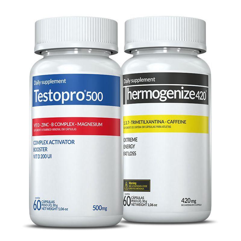 Combo 01 Testopro500® + 01 Thermogenize®420 c/ 60 cápsulas cada + (grátis) Moove Slim + Moove Hydrate + 10% off (Energia e Definição)