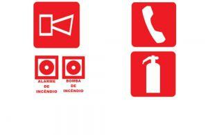Sinalização de Equipamentos de Controle à Incêndio e Alarme ( fotoluminescente )