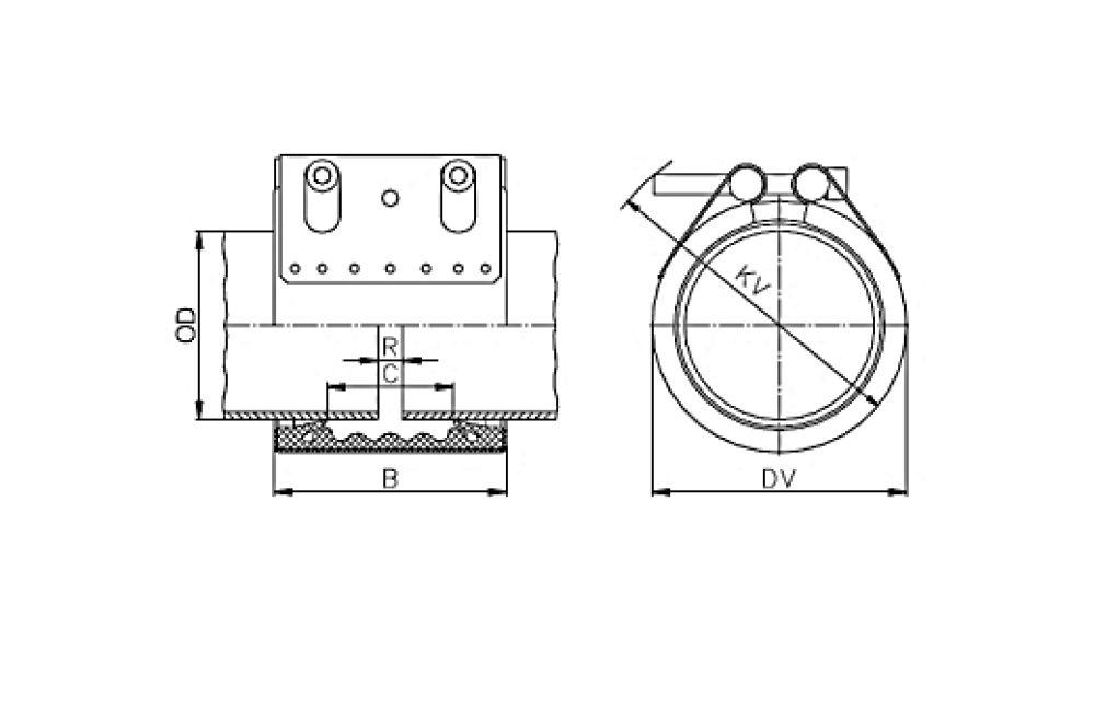 ACOPLAMENTO STRAUB FLEX - 1L NBR/PVC 101.6 MM
