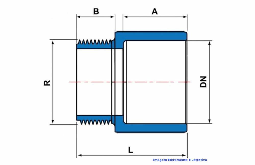 ADAPTADOR CURTO L/R PVC-U SCH80 TIGRE DN 1.1/2 NPT