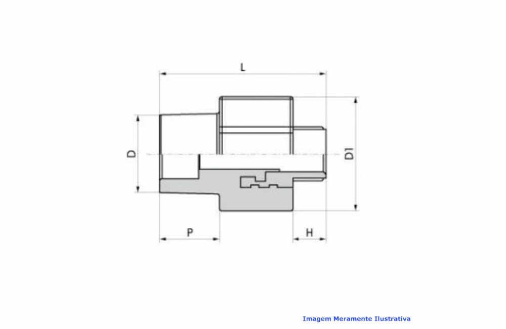 CONECTOR PPR INDUSTRIAL AZUL TIGRE DN 25 X 3/4 BSP