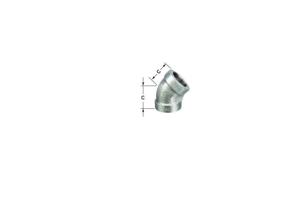 COTOVELO 45G A-197 GALVANIZADO 300LBS TUPY DN 1.1/4 NPT