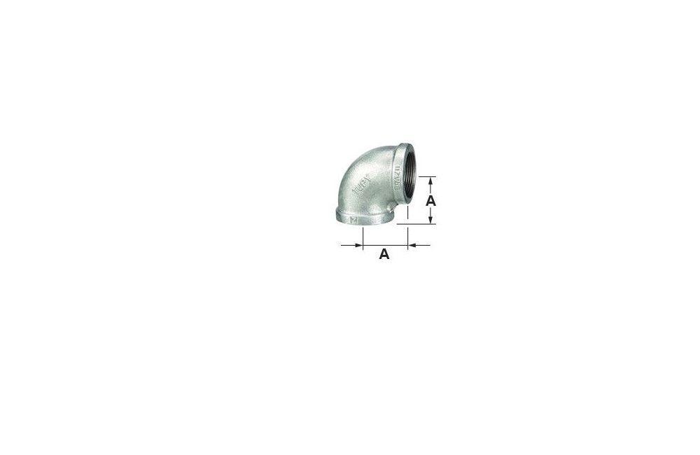 COTOVELO 90G A-197 GALVANIZADO 150LBS TUPY DN 1.1/2 NPT