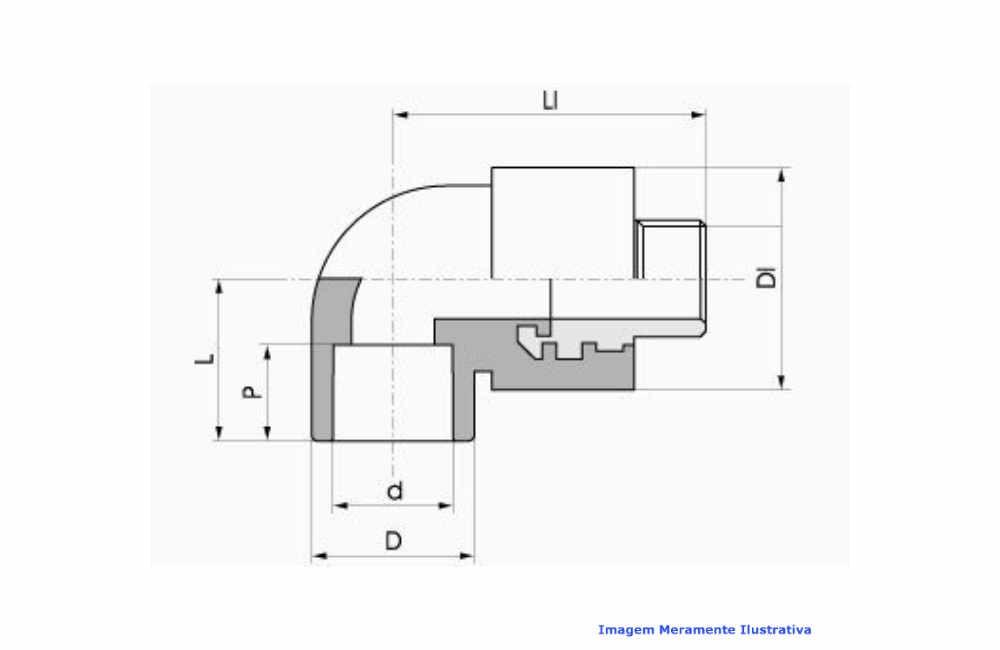 COTOVELO C/ROSCA MACHO PPR INDUSTRIAL AZUL TIGRE DN 32 X 1 BSP