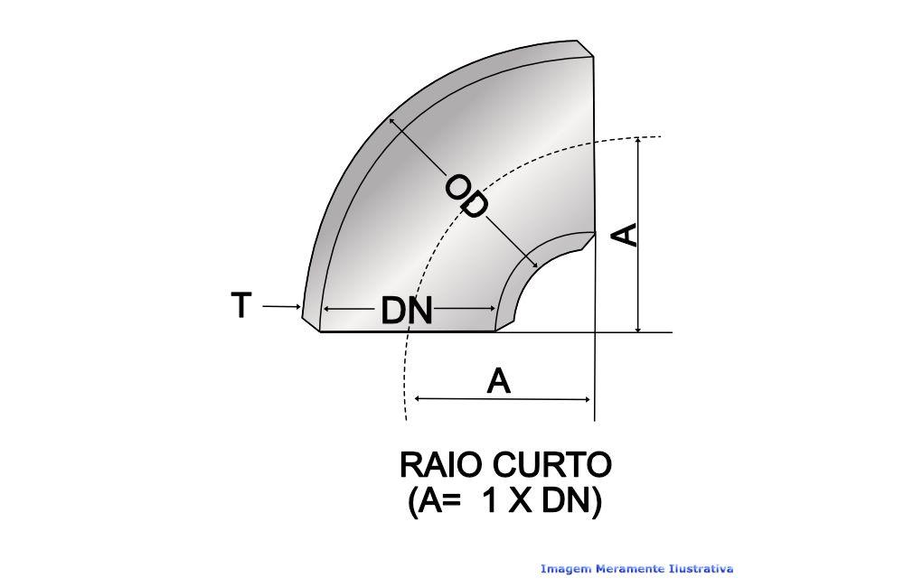 CURVA 90G RAIO CURTO A234 SCH40 S/COSTURA DN 3.1/2