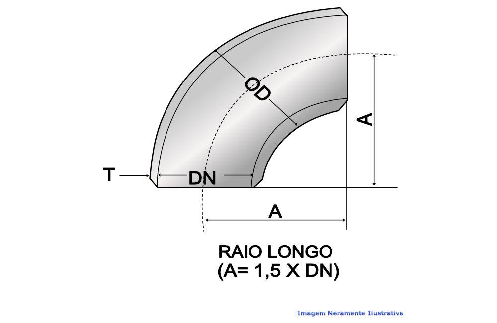 CURVA 90G RAIO LONGO A234 SCH40 S/COSTURA DN 3.1/2