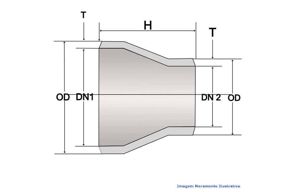 REDUÇÃO CONCÊNTRICA A234 SCH40 S/COSTURA DN 1.1/2 X 1