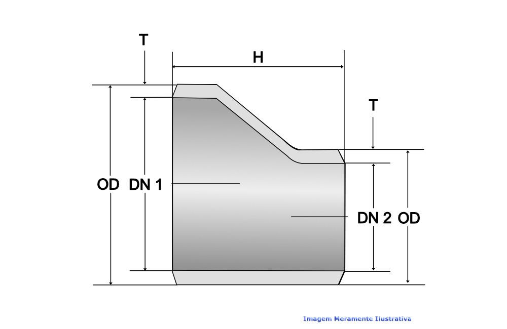 REDUÇÃO EXCÊNTRICA A234 SCH40 S/COSTURA DN 2.1/2 X 1