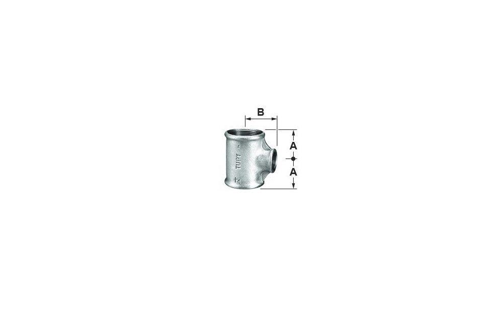 TÊ REDUÇÃO 90G A-197 GALVANIZADO 150LBS TUPY DN 2.1/2 X 1.1/4 BSP