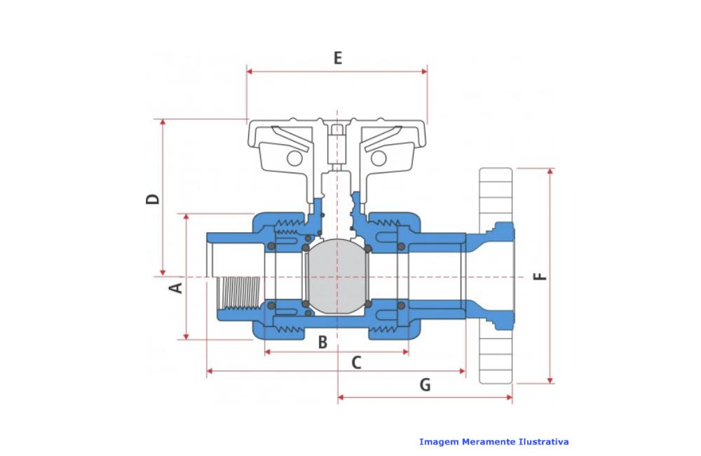 VALVULA ESFERA CPVC SCH-80 PTFE/VITON FLANGE ANSI DN 3