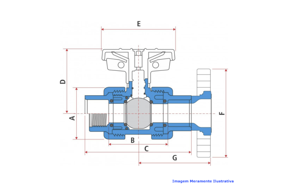 VALVULA ESFERA CPVC SCH-80 PTFE/VITON FLANGE ANSI DN 4