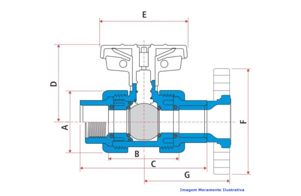 VALVULA ESFERA CPVC SCH-80 PTFE/VITON SOLDA/ROSCA DN 2