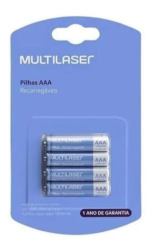 04 Pilhas Recarregáveis Aaa 1,2v Cb050 Original Multilaser