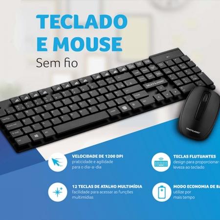 Kit Teclado E Mouse Sem Fio Teclas Flutuantes Usb Multilaser