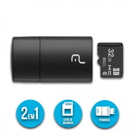 Pen Drive 2x1 Leitor Usb + Cartão De Memória Classe 10 32gb