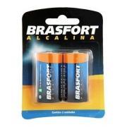 Pilha Brasfort Alcalina Grande D 1,5v Embalagem 2 Unidades