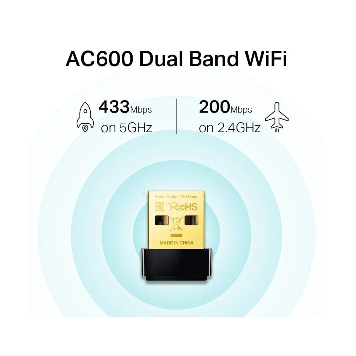 Adaptador USB TP-Link Archer AC600 T2U Nano Wi-fi Dual Band