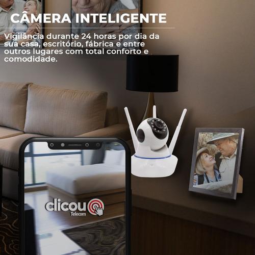 Câmera Babá Eletrônica Robô Segurança 3 Antenas Wifi 360º