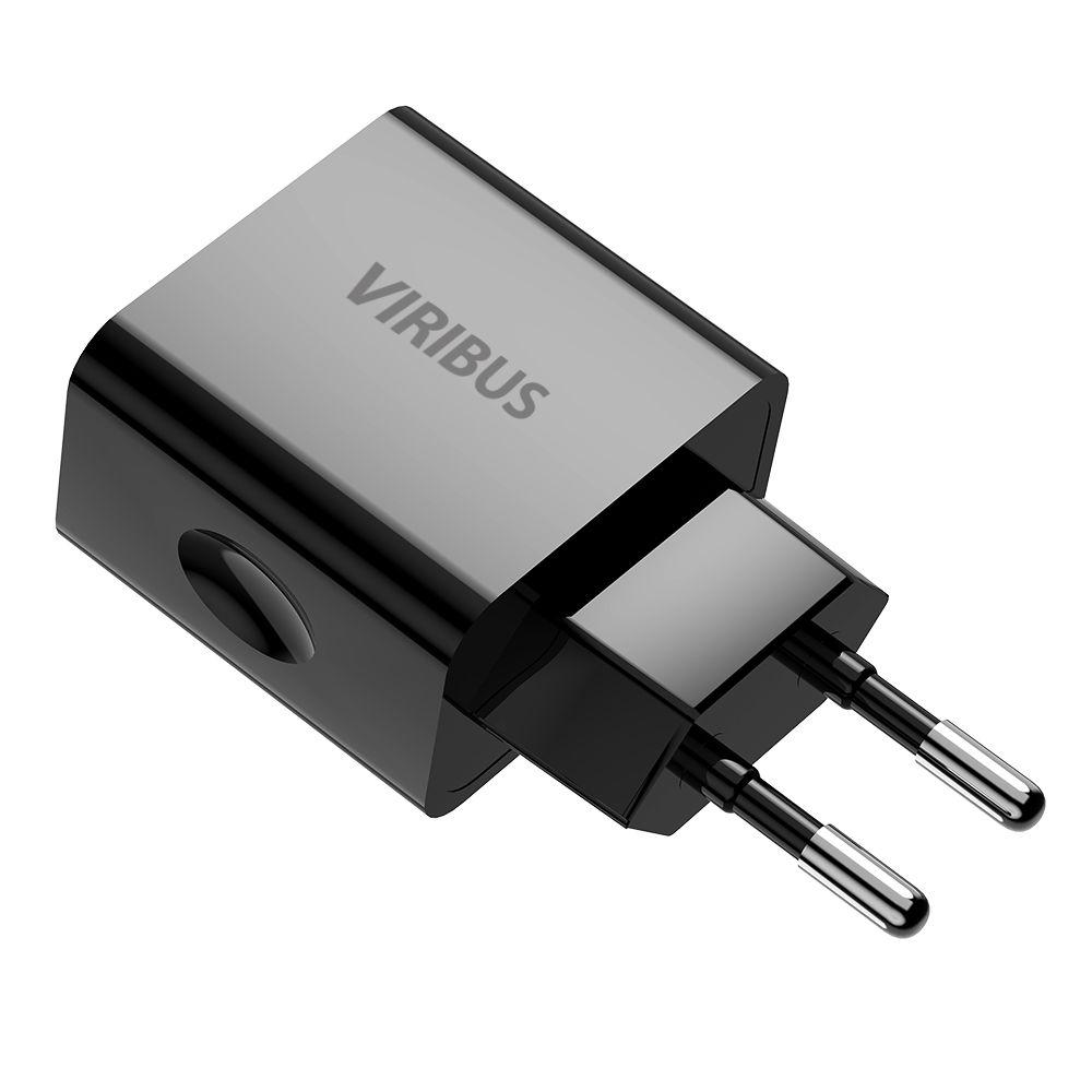 Carregador de Parede Turbo com 2 Portas USB 2.4a Viribus Preto Bivolt