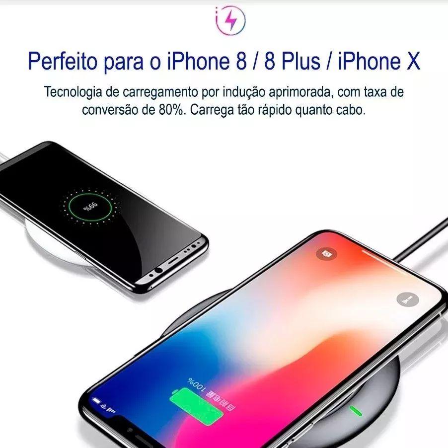 Carregador Sem Fio iPhone 8 X Xr Xs S10 Note 8 5w Ufo Baseus