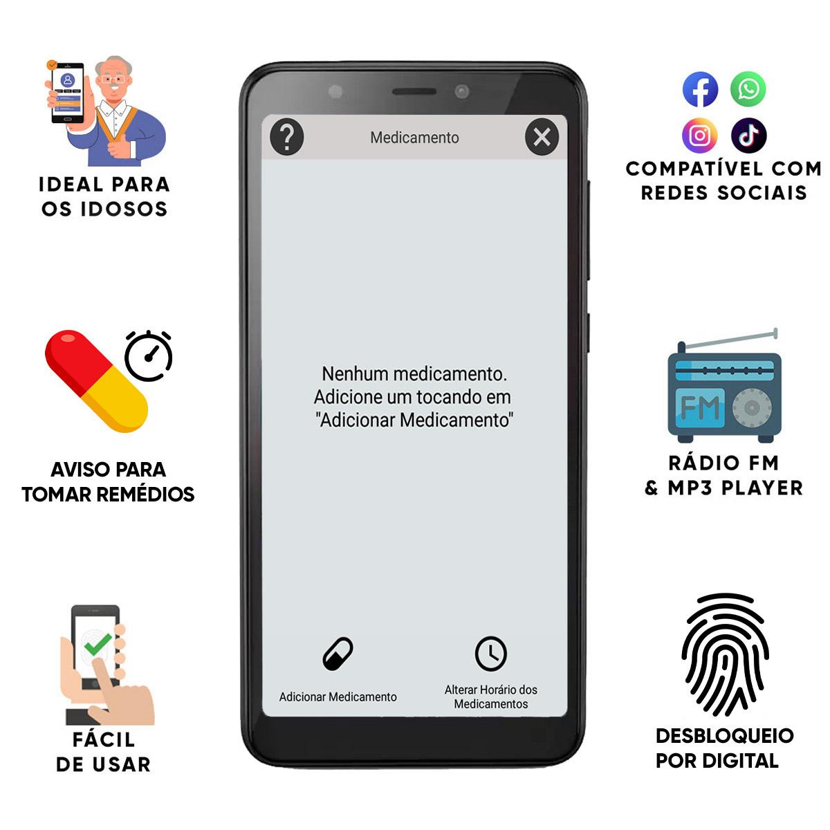 Celular Do Idoso Letras Grandes 16gb Tela 5,5' Sos Biometria