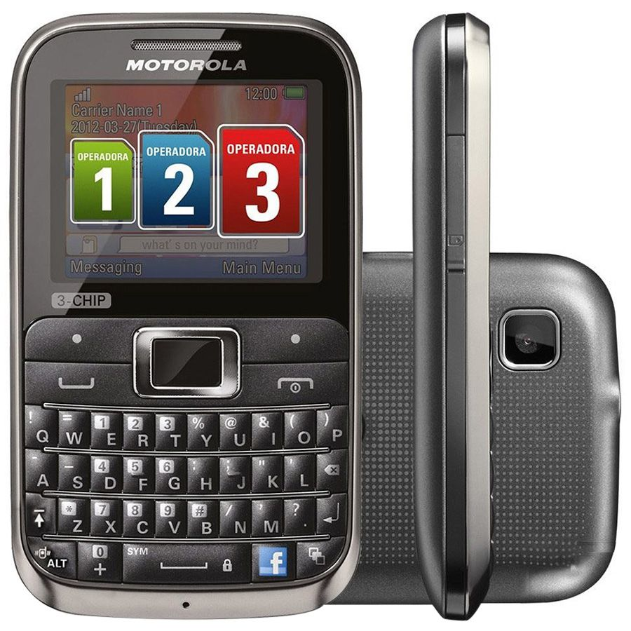 Celular Motorola Motokey Ex117 Tri-chip Qwerty Câmera 2mp Vitrine