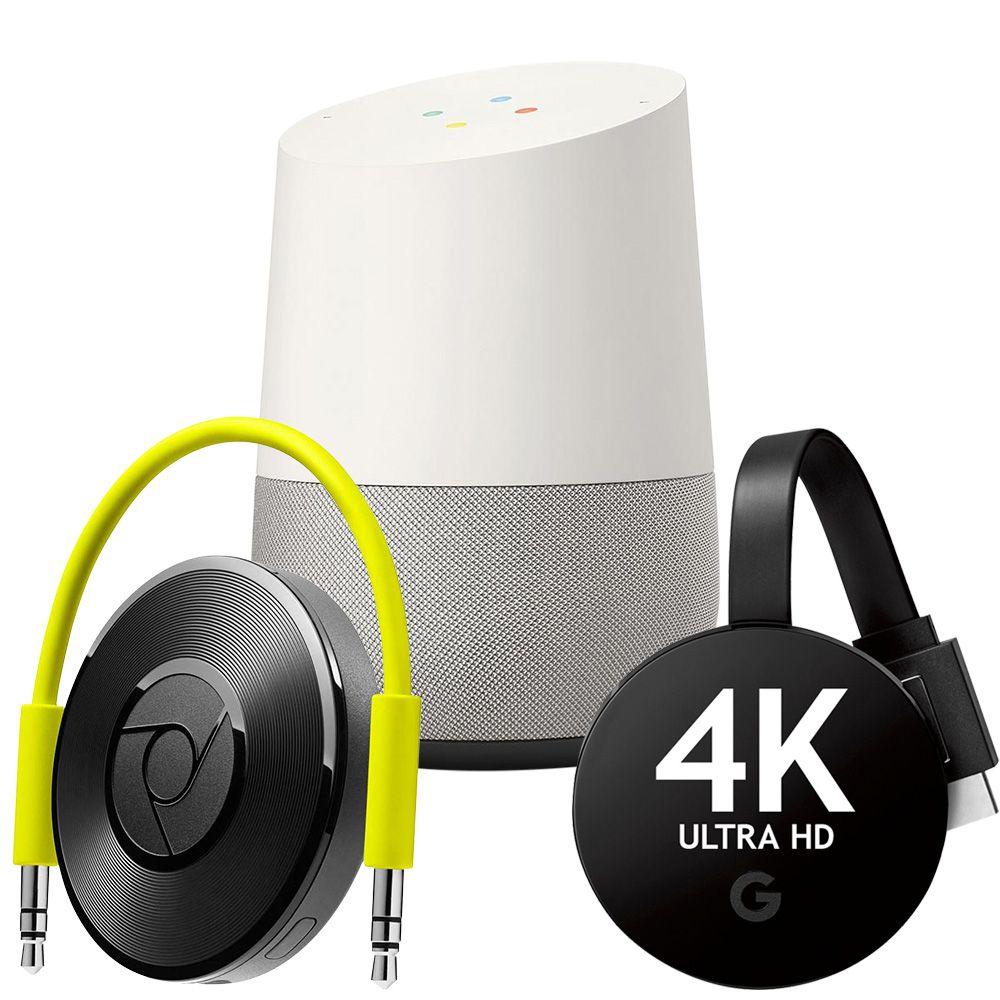 Google Combo Google Chromecast Audio + Google Chromecast Ultra 4k + Google Home Vitrine