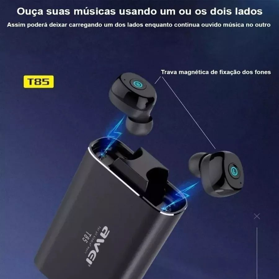 Fones De Ouvido Sem Fio Bluetooth Awei T85 Tws Mini Original