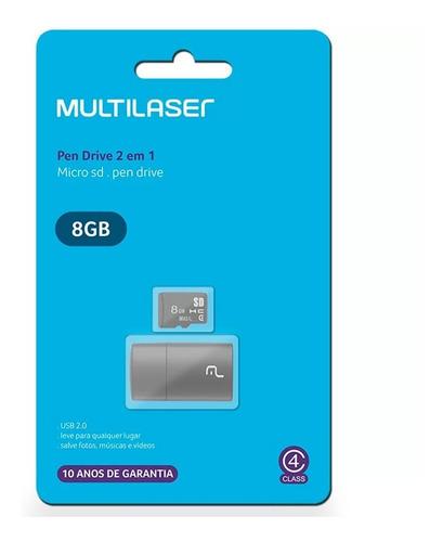 Kit 2 Em 1 Leitor Usb + Cartão De Memória Classe 4 8gb - MC161