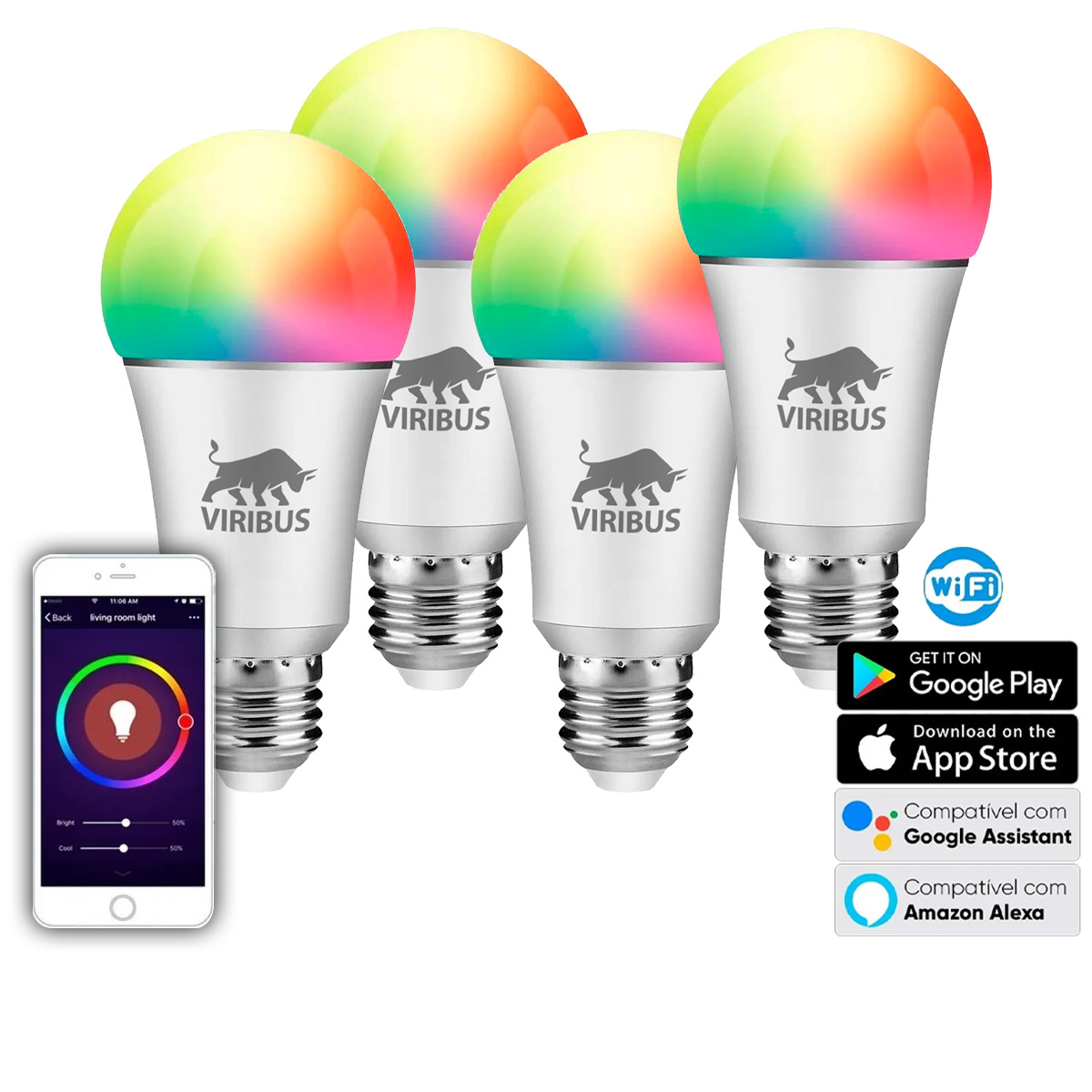 Kit 5und Lampada Led Inteligente Rgb 9w Android Ios Wi-fi