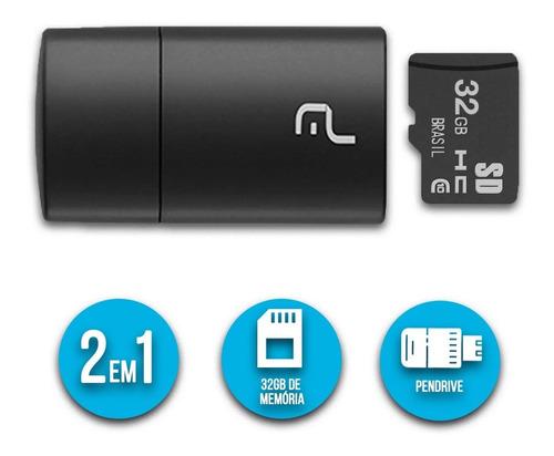 Pen Drive 2x1 Leitor Usb + Cartão De Memória Classe 10 32gb - MC163