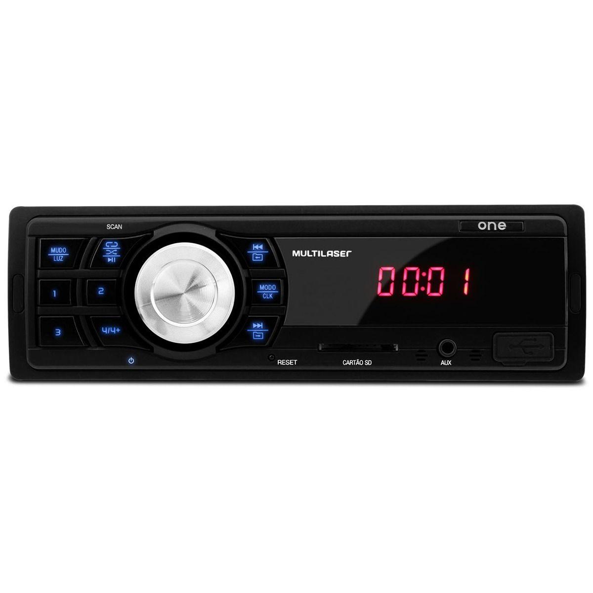Rádio Auto Multilaser One P3213 Entrada Auxiliar Usb Sd Card
